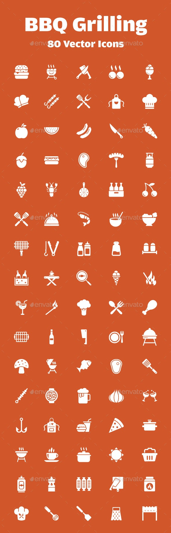 80 Barbeque Grilling Vector Icons - Icons