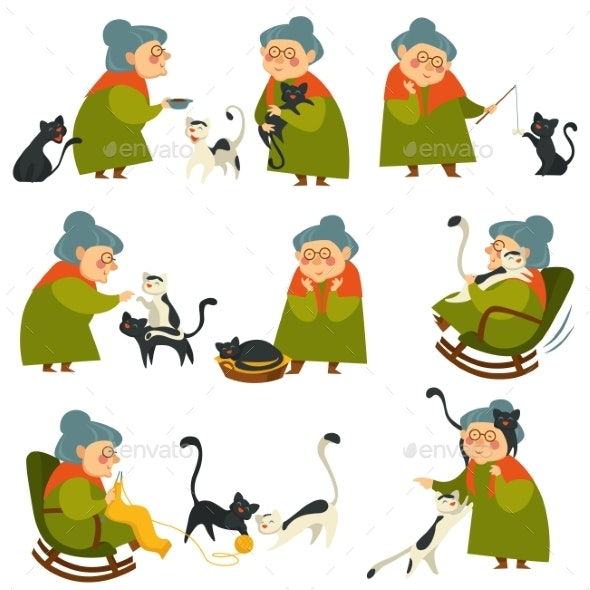 Old Woman Playing with Cat Pet, Elderly Lady Set - Animals Characters