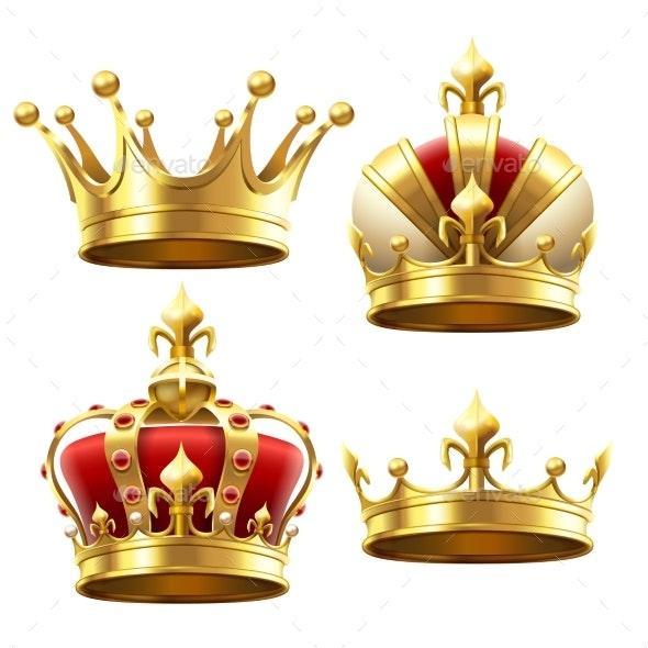 Realistic Gold Crowns - Miscellaneous Vectors