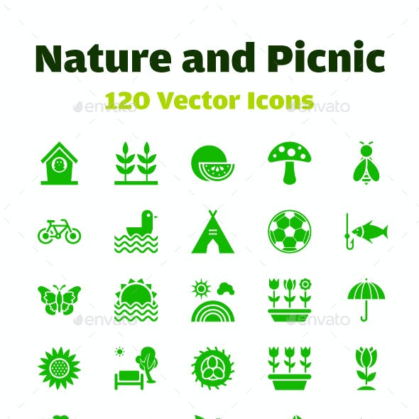120 Nature and Picnic Vector Icons
