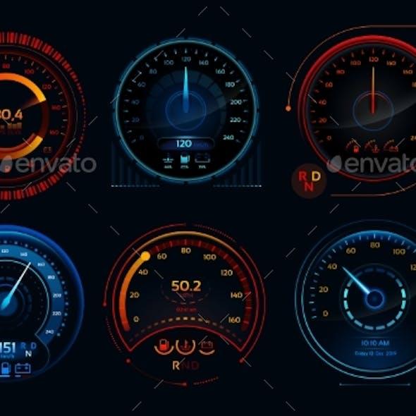 Futuristic Car Speedometers