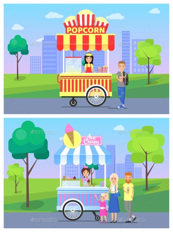 Popcorn Ice Cream Stalls Set Vector Illustration - Food Objects