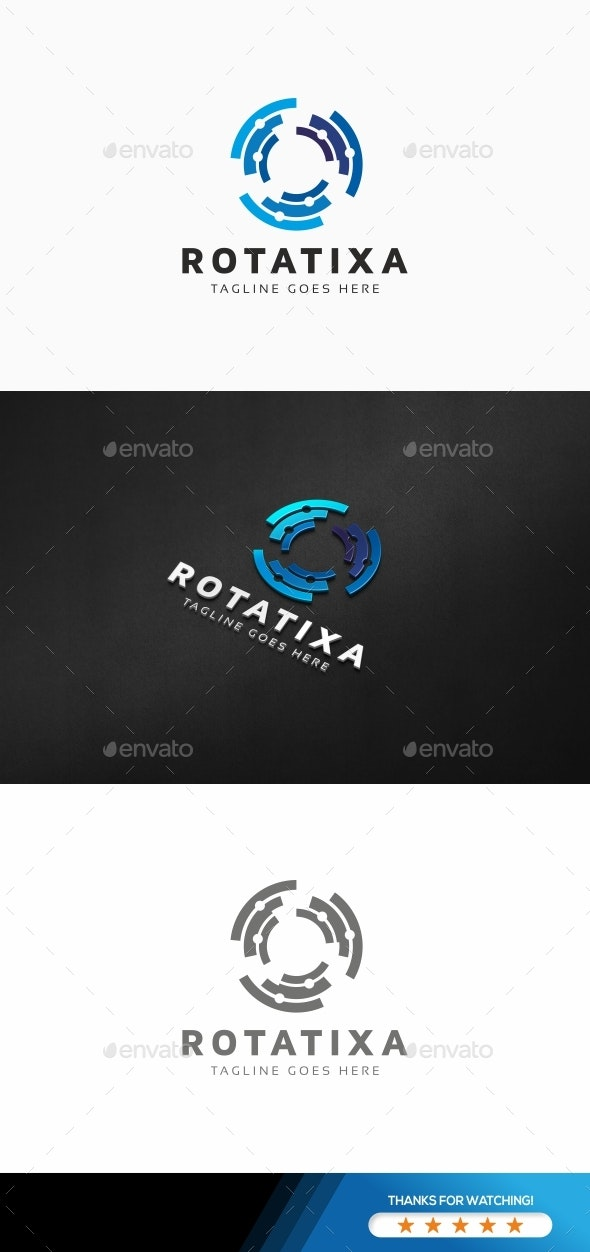 Circular Wave Tech Logo - Symbols Logo Templates
