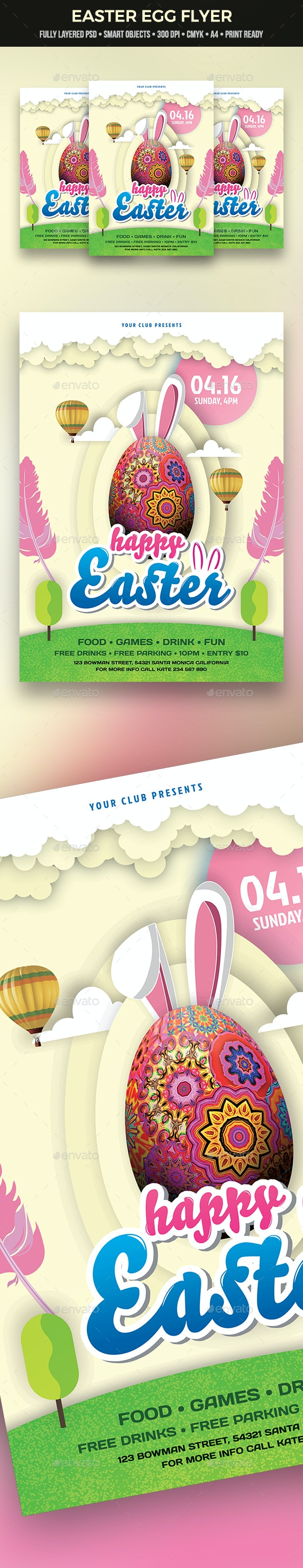 Easter Egg Flyer - Clubs & Parties Events