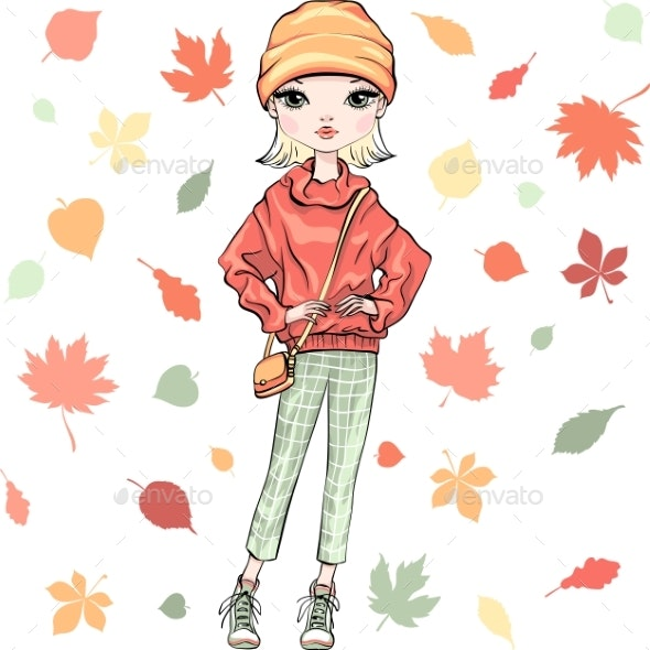Vector Fashion Girl in Autumn Clothes - People Characters