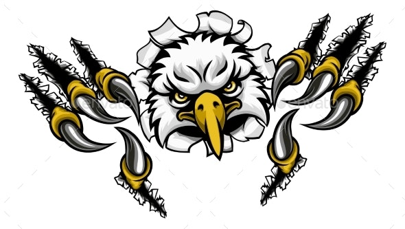 Eagle Cartoon Sports Mascot Tearing Background - Sports/Activity Conceptual