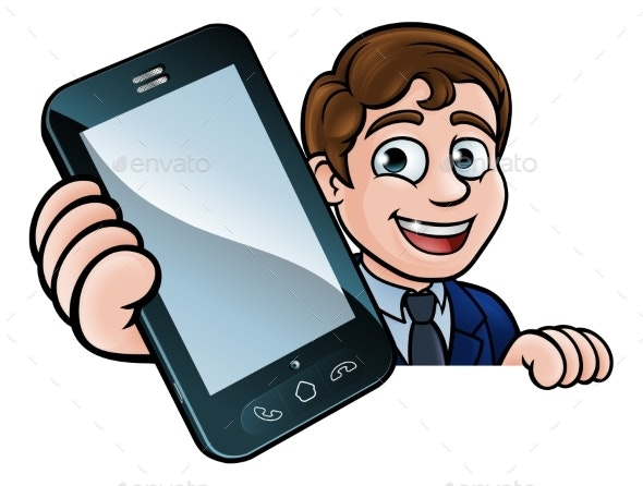 Businessman Phone Concept - People Characters