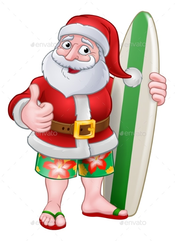 Santa Claus Surf Christmas Cartoon - Christmas Seasons/Holidays