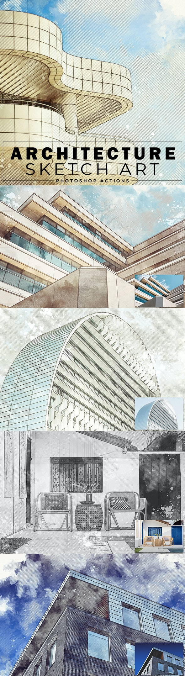 Architecture Sketch Art Photoshop Actions - Photo Effects Actions