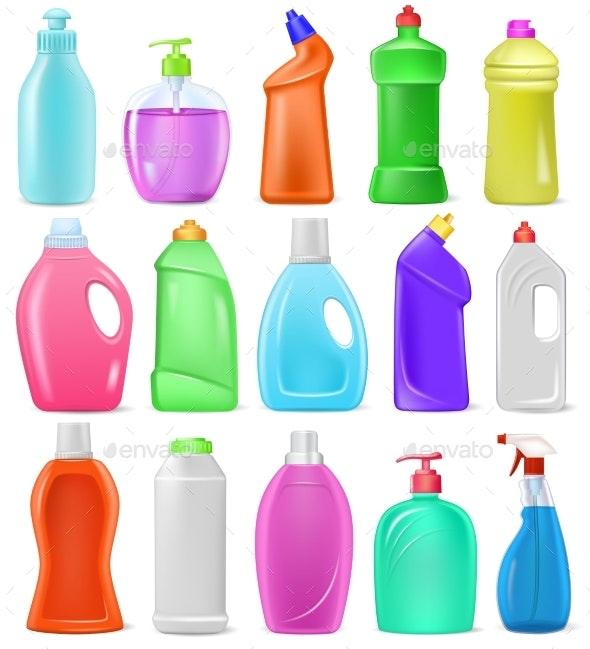 Detergent Bottle Vector Cartoon Plastic Blank - Man-made Objects Objects
