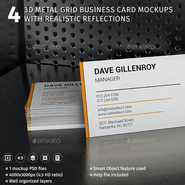 4 3D Metal Grid Scene Business Card Mockups With Realistic Reflections