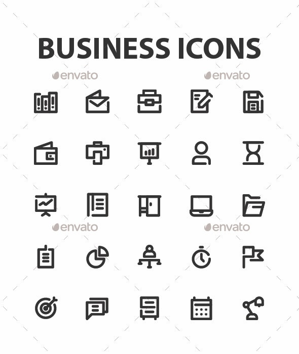 Business and Management Icons Set - Business Icons