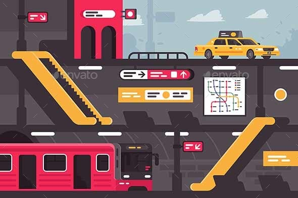 City Metro Street Section with Taxi at Entrance - Miscellaneous Vectors