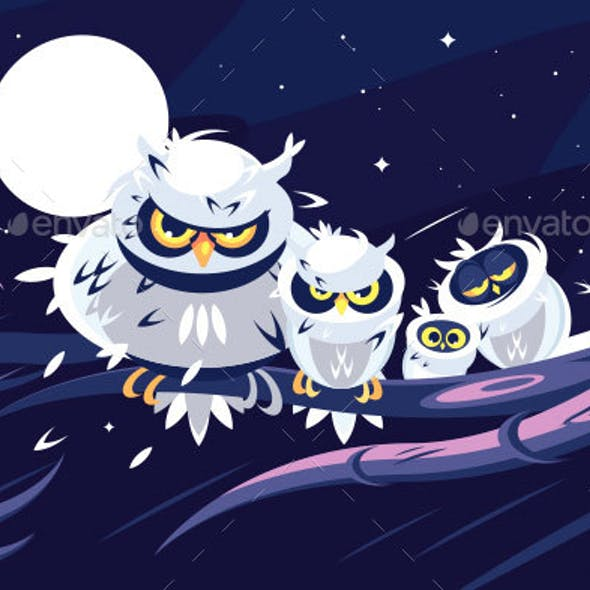 Owls Sitting on Branch in Front of Full Moon