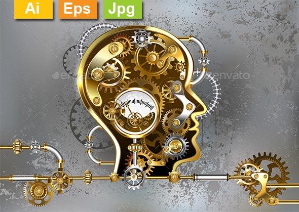 Steampunk Head with Manometer - Decorative Symbols Decorative