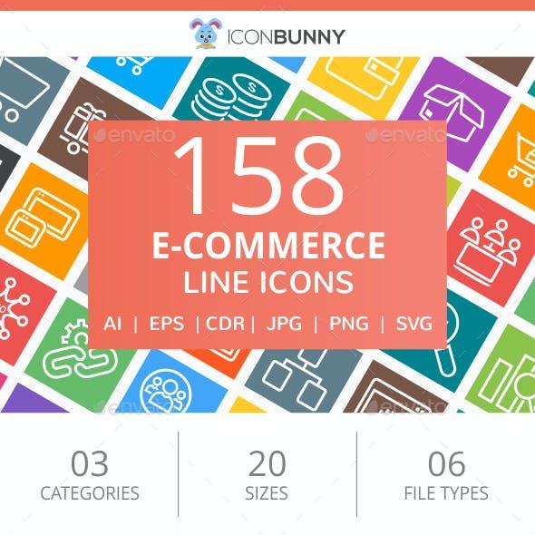 158 E-Commerce Line Multicolor B/G Icons