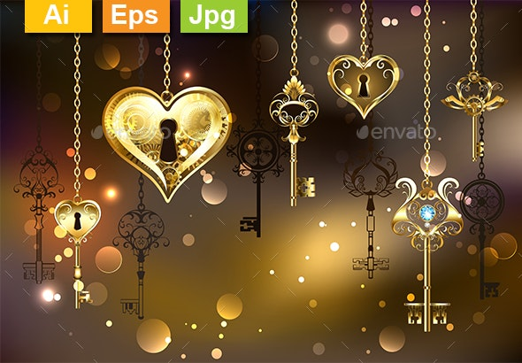 Closed Heart with Keys - Backgrounds Decorative