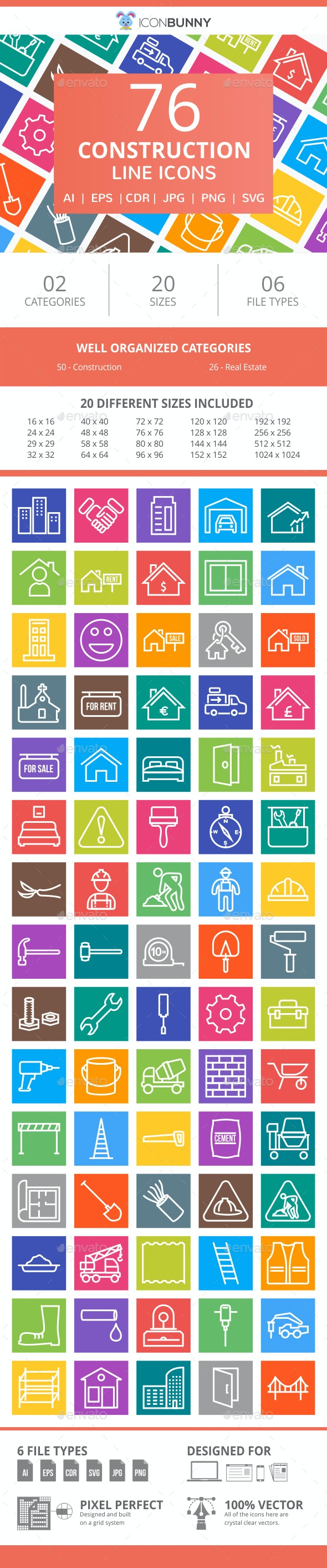 76 Construction Line Multicolor B/G Icons - Icons