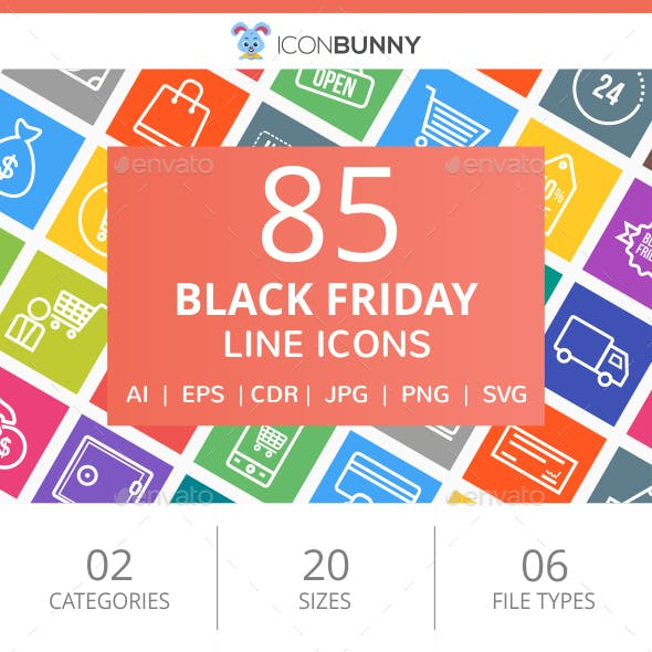 85 Black Friday Line Multicolor B/G Icons