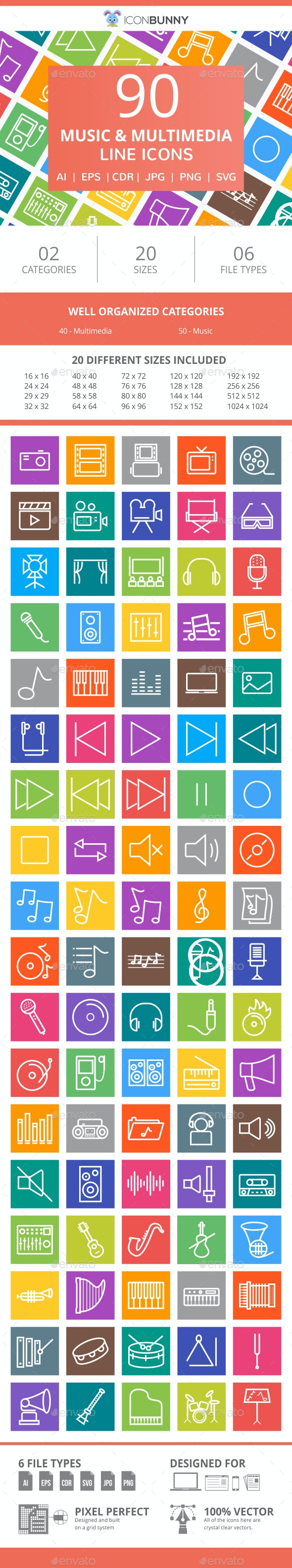 90 Music & Multimedia Line Multicolor B/G Icons - Icons
