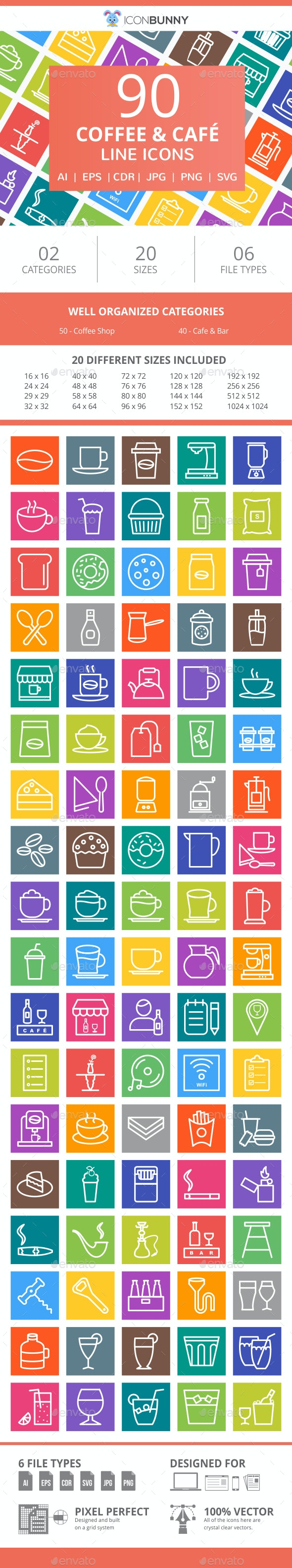 90 Coffee & Cafe Line Multicolor B/G Icons - Icons