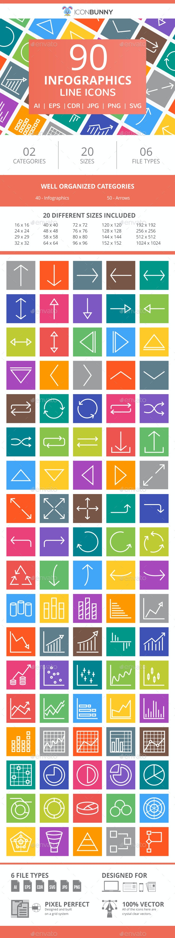 90 Infographics Line Multicolor B/G Icons - Icons