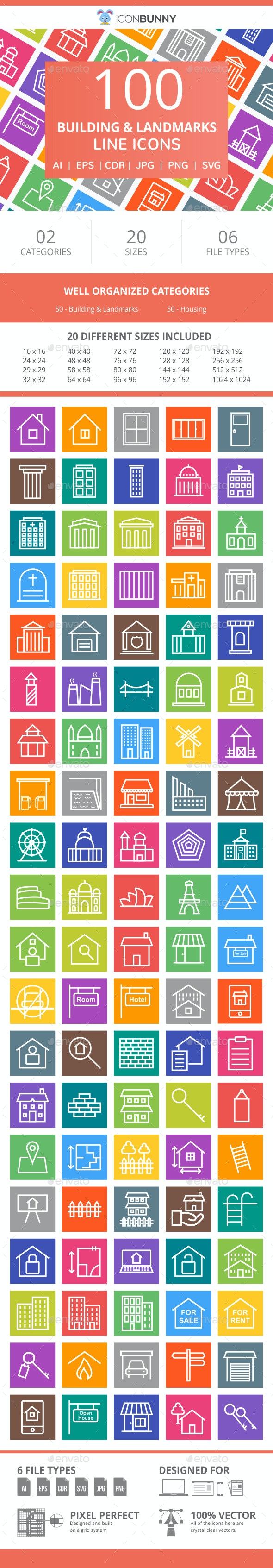 100 Building & Landmarks Line Multicolor B/G Icons - Icons