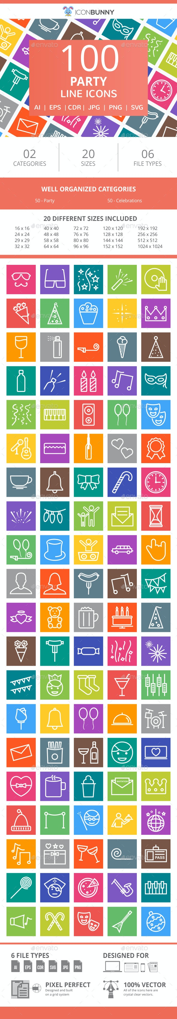 100 Party Line Multicolor B/G Icons - Icons