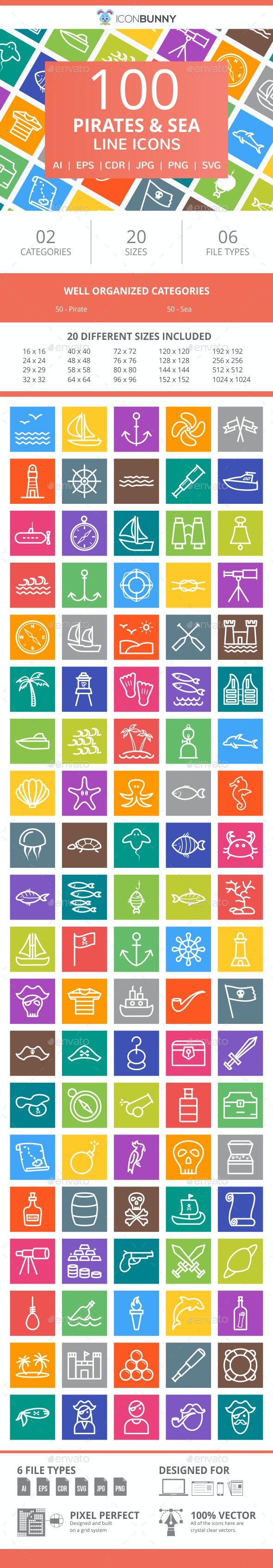 100 Pirate & Sea Line Multicolor B/G Icons - Icons