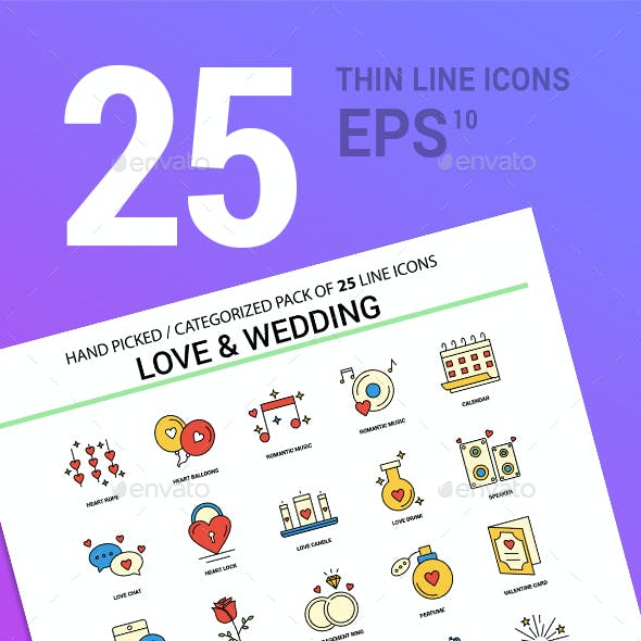 25 Love & Wedding Line Filled Icons