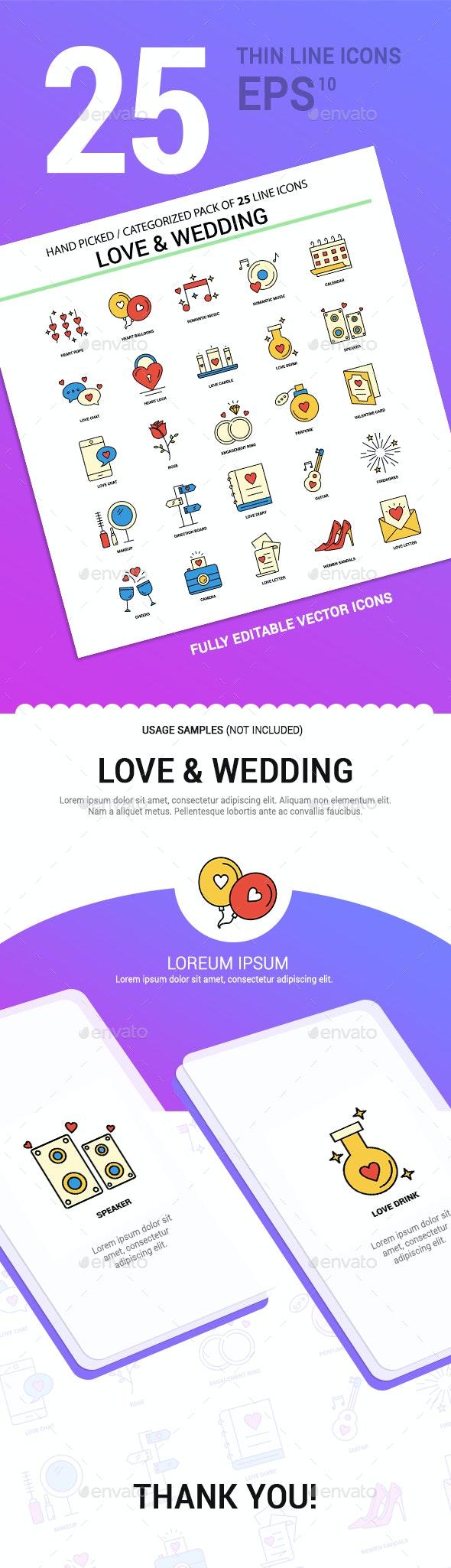 25 Love & Wedding Line Filled Icons - Seasonal Icons