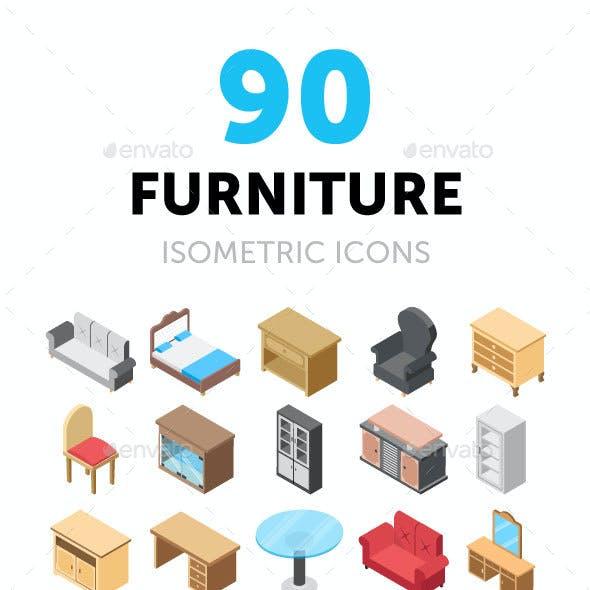 90 Furniture Isometric Icons