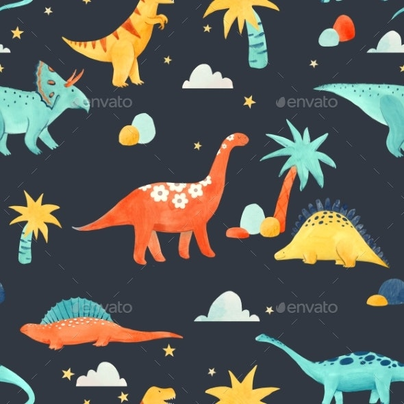 Watercolor Dinosaur Baby Pattern - Miscellaneous Illustrations