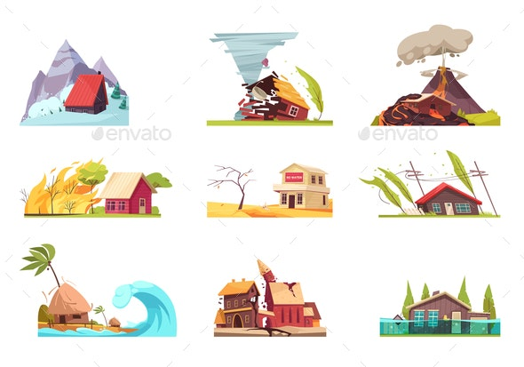 Flat Environmental Incidents Set - Buildings Objects