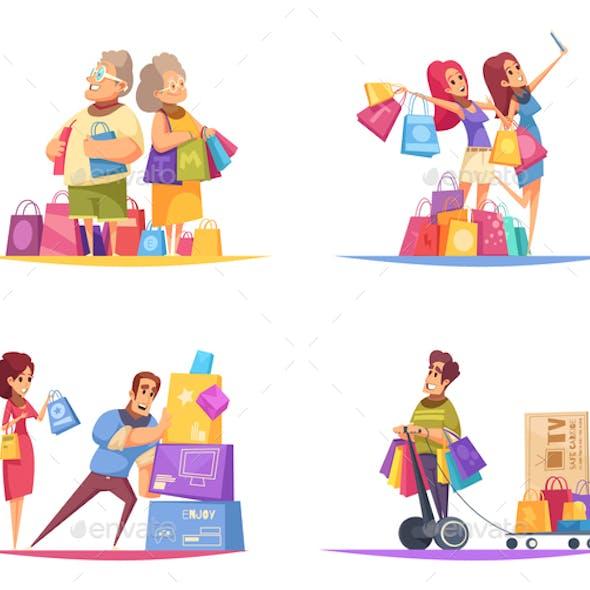 Shopaholic Cartoon Design Concept