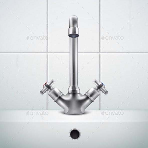Realistic Sink Faucet Composition - Miscellaneous Vectors