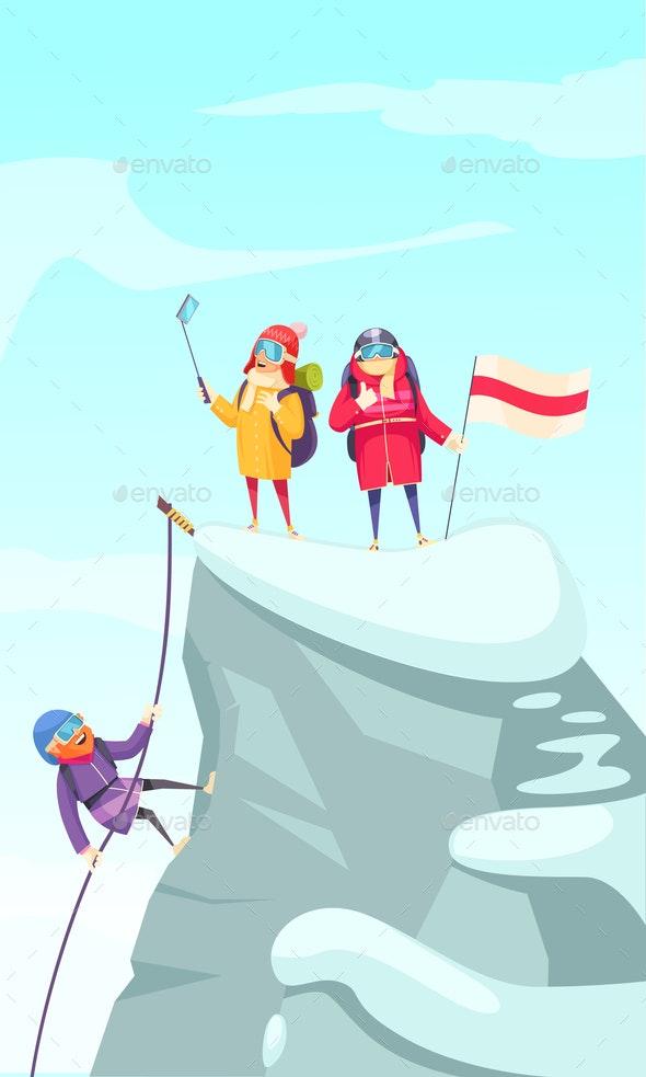 Mountaineering Peak Cartoon - Sports/Activity Conceptual