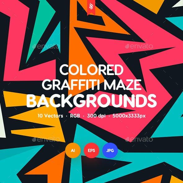 Colored Graffiti Maze Seamless Patterns