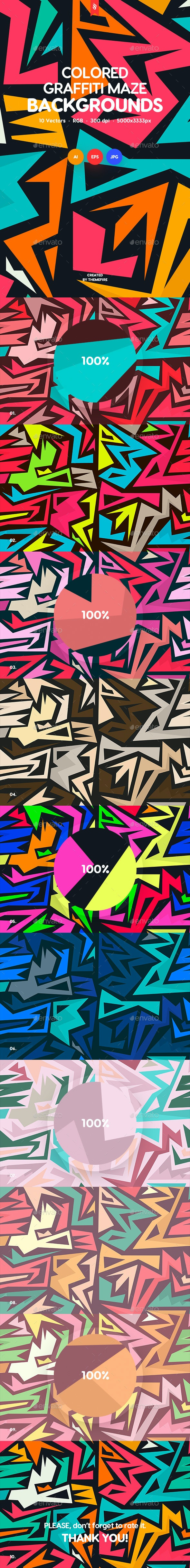 Colored Graffiti Maze Seamless Patterns - Patterns Backgrounds