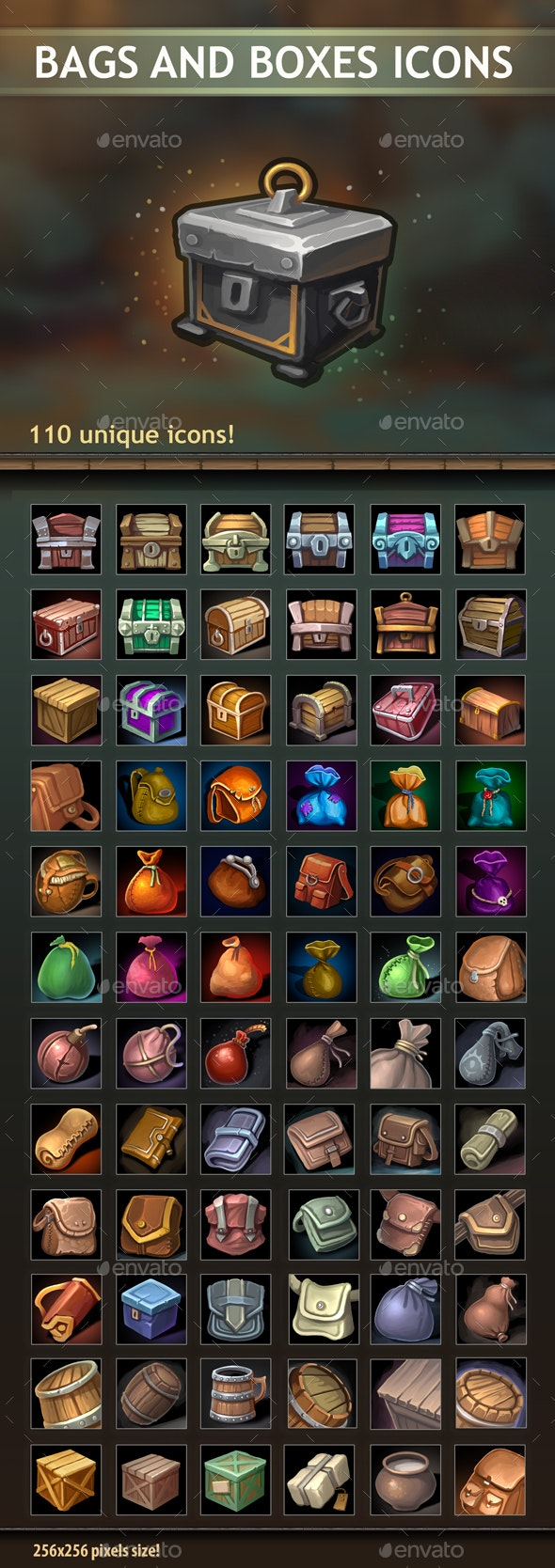 Bags and Boxes Icons - Miscellaneous Game Assets
