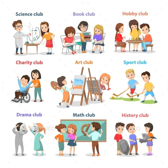 Set of Different Clubs for School Children Card