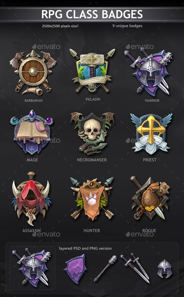 RPG Class Badges - Miscellaneous Game Assets