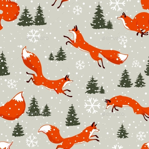 Fox Seamless Winter - Backgrounds Decorative