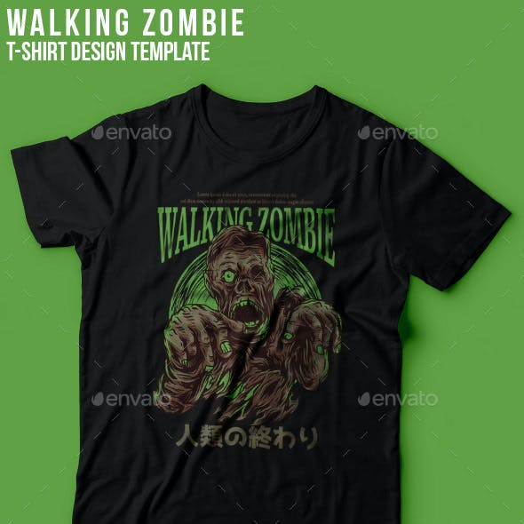 Walking Zombie T-Shirt Design