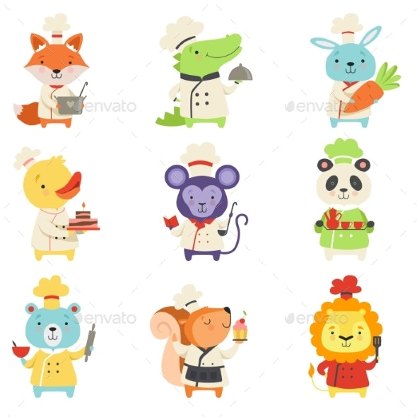 Animals in Chef Uniform Set, Lovely Cartoon - Animals Characters