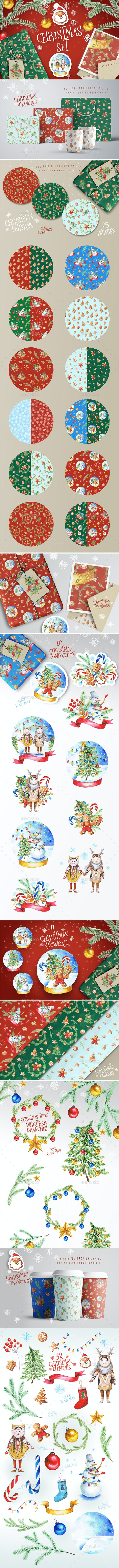 Christmas Watercolor Set - Objects Illustrations