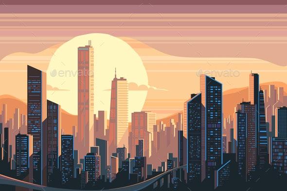 Sunrise Landscape in City - Buildings Objects
