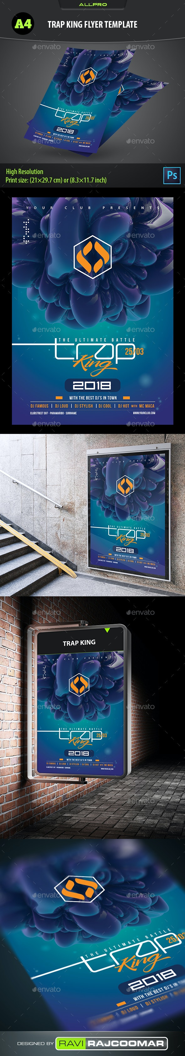 Trap King Flyer Template - Clubs & Parties Events