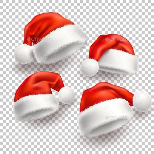 Vector Realistic Santa Christmas Holiday Hat Set