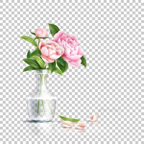 Vector Realistic Pink Rose Flower Leaves Bouquet - Flowers & Plants Nature